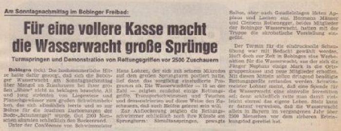 Zeitungsbericht Turmspringer